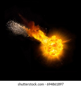 Realistic fireball over a black background