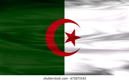 Realistic flag of Algeria on the wavy surface of fabric. This flag can be used in design