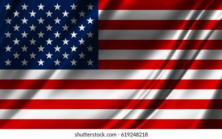 Realistic flag of America on the wavy surface of fabric. This flag can be used in design