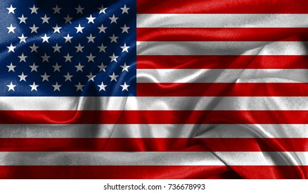 Realistic flag of America on the wavy surface of fabric. This flag can be used in design.