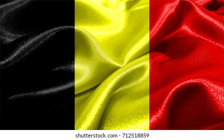 Realistic flag of Belgium on the wavy surface of fabric. This flag can be used in design