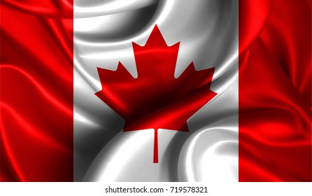 Realistic flag of Canada on the wavy surface of fabric. This flag can be used in design