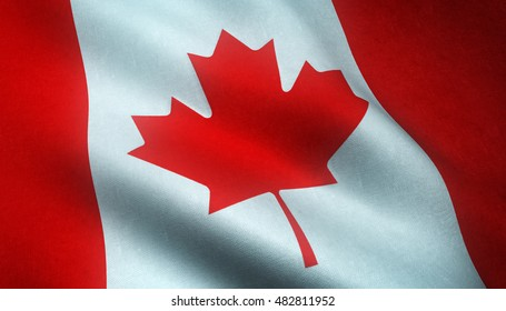 Realistic flag of Canada waving in 4K resolution. Seamless loop with highly detailed fabric texture.