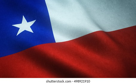Realistic flag of Chile waving with highly detailed fabric texture.