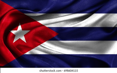 Realistic flag of Cuba on the wavy surface of fabric. This flag can be used in design
