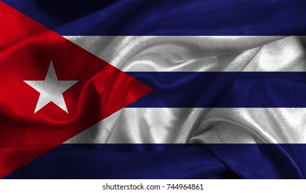 Realistic flag of Cuba on the wavy surface of fabric. This flag can be used in design.
