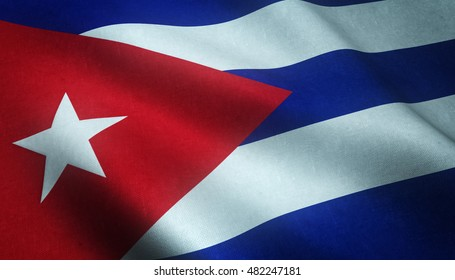 Realistic flag of Cuba waving with highly detailed fabric texture.