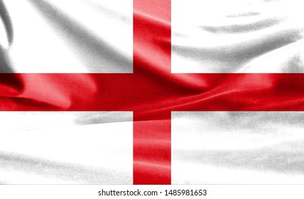 Realistic flag of England on the wavy surface of fabric