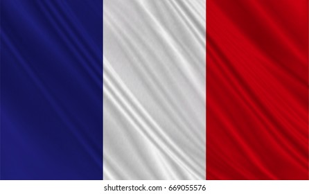 Realistic flag of France on the wavy surface of fabric. This flag can be used in design