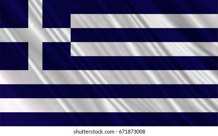 Realistic flag of Greece on the wavy surface of fabric. This flag can be used in design