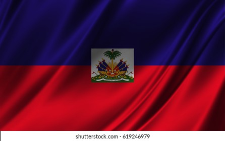Realistic flag of Haiti on the wavy surface of fabric. This flag can be used in design
