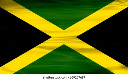 Realistic flag of Jamaica on the wavy surface of fabric. This flag can be used in design