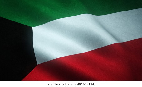 Realistic flag of Kuwait waving with highly detailed fabric texture.
