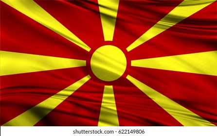 Realistic flag of Flag of Macedonia on the wavy surface of fabric. This flag can be used in design