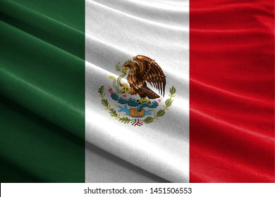 Realistic flag of Mexico on the wavy surface of fabric