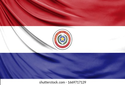 Realistic flag of Paraguay on the wavy surface of fabric