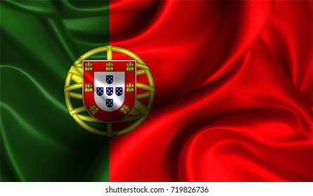 Realistic flag of Portugal on the wavy surface of fabric. This flag can be used in design