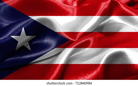 Realistic flag of Puerto Rico on the wavy surface of fabric. This flag can be used in design