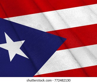 Realistic flag of Puerto Rico on the wavy surface of fabric