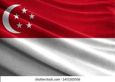 Realistic flag of Singapore on the wavy surface of fabric
