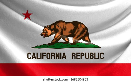 Realistic flag State of California on the wavy surface of fabric
