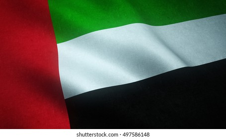 Realistic flag of United Arab Emirates waving with highly detailed fabric texture.