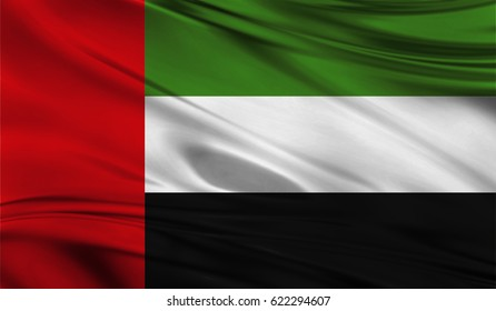 Realistic flag of Flag of United Arab Emirates on the wavy surface of fabric. This flag can be used in design