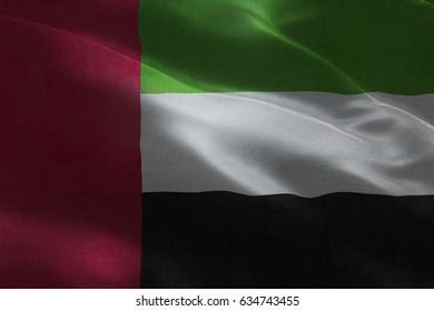 Realistic Flag of United Arab Emirates