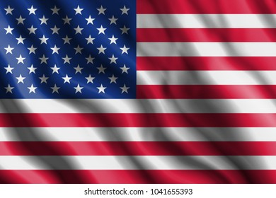 The realistic flag of United States