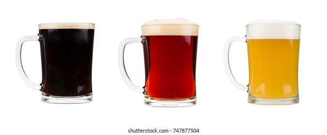 Realistic glasses filled with red, dark and blond beer with foam isolated on white background.