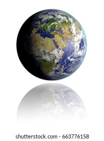 Realistic globe hovering above white reflective surface facing EMEA region. 3D illustration with detailed planet surface. Elements of this image furnished by NASA.