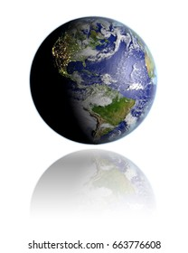 Realistic globe hovering above white reflective surface facing Americas. 3D illustration with detailed planet surface. Elements of this image furnished by NASA.