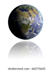 Realistic globe hovering above white reflective surface facing Africa. 3D illustration with detailed planet surface. Elements of this image furnished by NASA.
