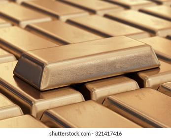 Realistic gold bars. 3D illustration