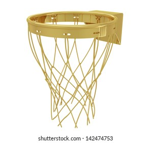 A realistic golden basketball hoop isolated on white (series) .The rendering has even tiny scratches.