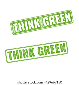 Realistic green grunge rubber stamp Think Green isolated on white background. Eco concept. Earth day motto slogan. Eco label tag