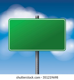 A realistic green road sign over a blue clouded sky illustration. Room for copy.