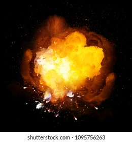 Realistic hot fiery bomb explosion with sparks and smoke isolated on black background