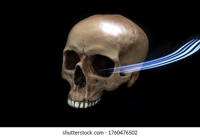 A realistic human prop skull with a missing lower jawbone photographed on a dark background. The skull has a flashlight beam coming out of its yee socket.