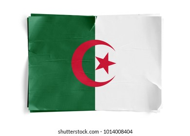 Realistic illustration of Algeria flag on torned, wrinkled, dirty, grunge paper poster. Three of them on top of eachother. 3D rendering.
