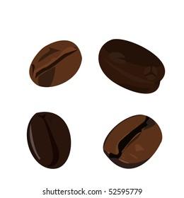 Realistic illustration coffee bean - Raster