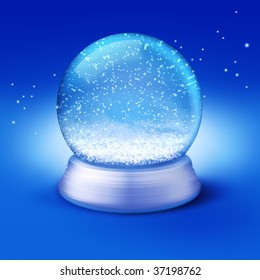 Realistic illustration of an empty snow-dome against a blue background - customize by inserting your own object