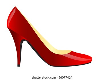 Realistic illustration of modern red female shoe isolated over white
