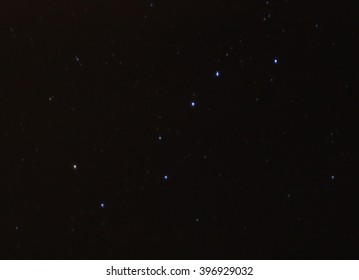 Realistic image of the big dipper surrounded by a few dim stars