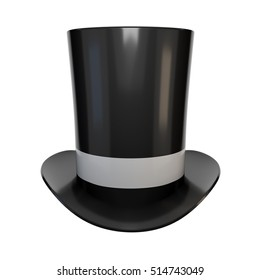 Realistic image of high hats. Retro cylinder cap on a white background. 3D rendering