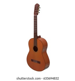 realistic isolated classical acoustic guitar 3d illustration