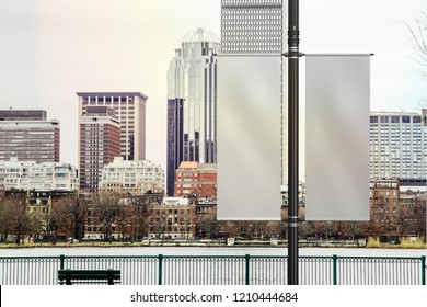 Realistic Lamp Post Banner