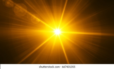 Realistic Lens Flare ,Sun Flare on black background object design.