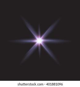 Realistic lens flares star lights and glow  elements  black background  illustration