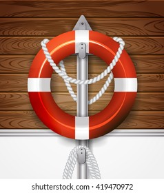 realistic lifebuoy on old boards of ship deck wooden background. Raster version
